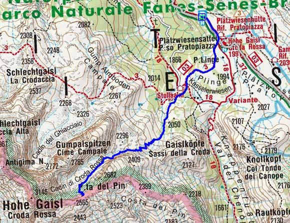 Pinscharte (2565 m) von der Plätzwiese