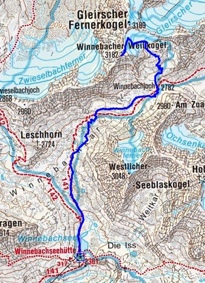 Winnebacher Weißkogel (3182m) vom Westfalenhaus