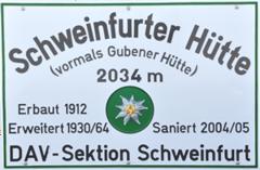 Logo Schweinfurter Hütte, 2028 m - Niederthai