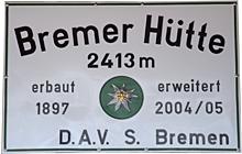Logo Bremer Hütte, 2413 m - Gschnitztal