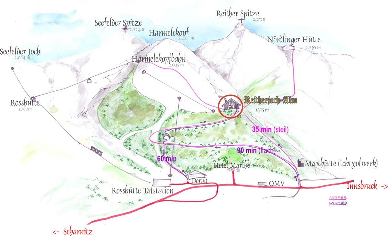 Kranebitten - Alpengasthaus Rauschbrunnen - Hungerburg