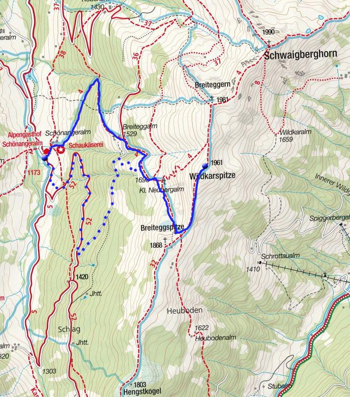 Wildkarspitze (1961m) von der Schönangeralm
