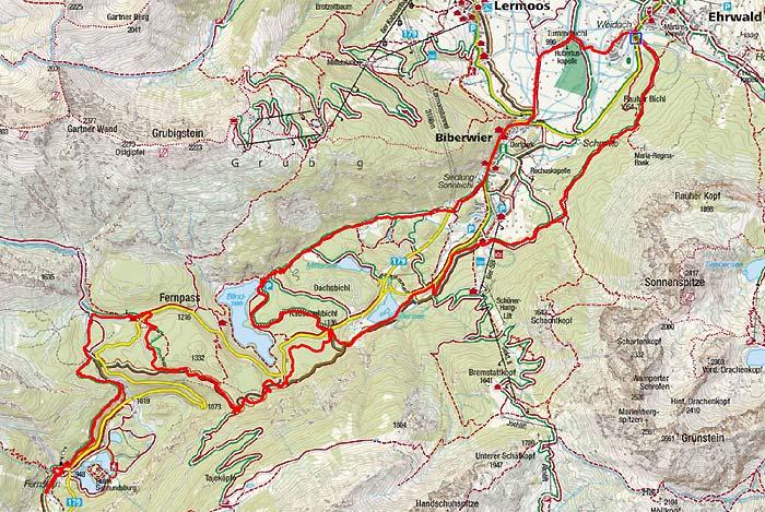 fernpass karte Mountainbiketour von Ehrwald zum Fernsteinsee