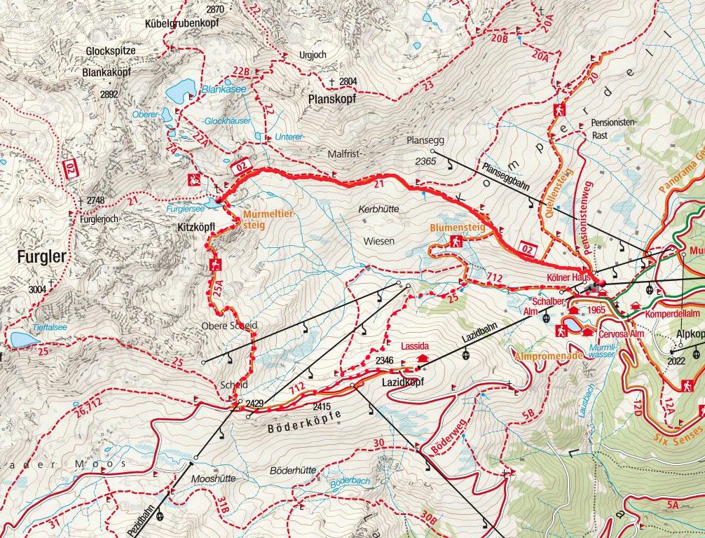 Furglersee (2458m) von der Komperdellbahn