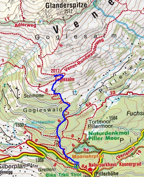 Gogles Alm (2017 m) von der Pillerhöhe