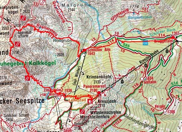 Klettersteig Map : Klettersteig große ochsenwand schlicker