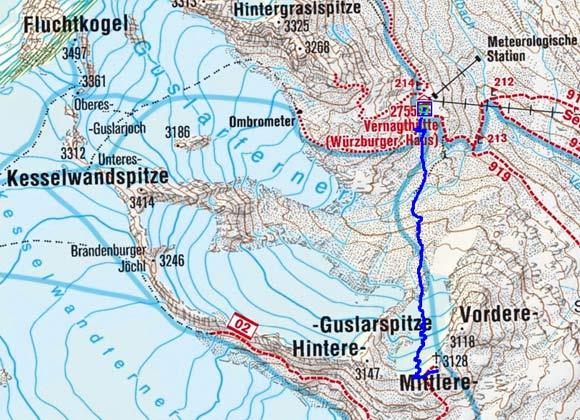 Mittlere Guslarspitze (3128 m) von der Vernagthütte
