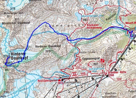Hinterer Daunkopf (3225 m) von der Mutterbergalm