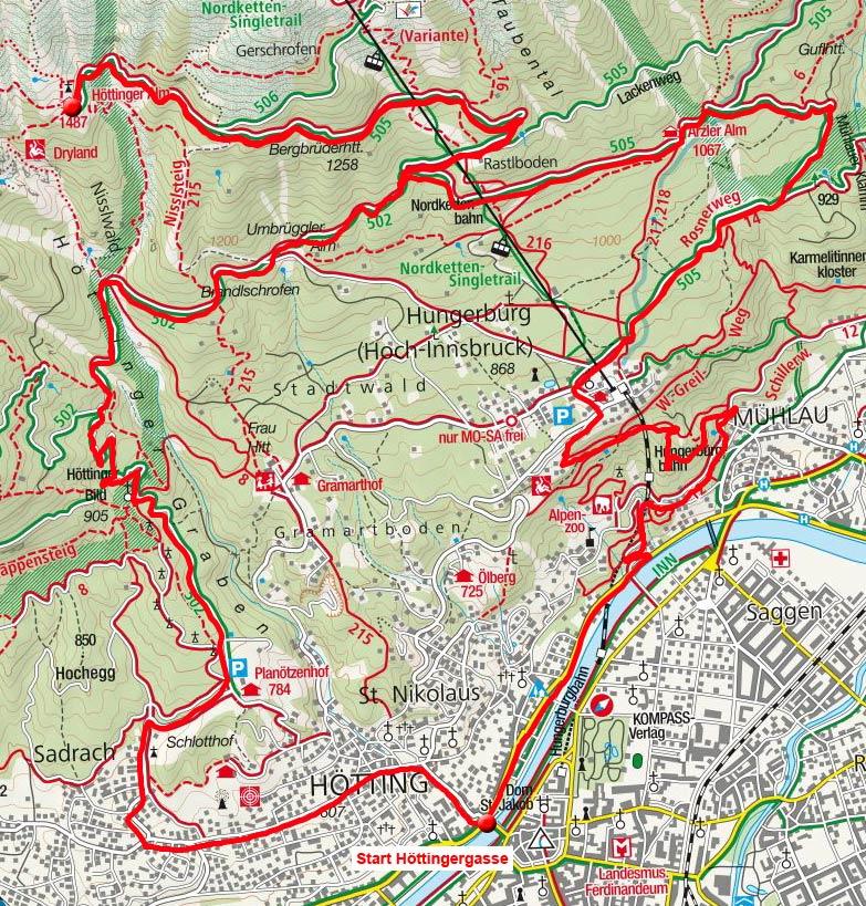 Höttinger Alm & Arzler Alm von Innsbruck über Sadrach