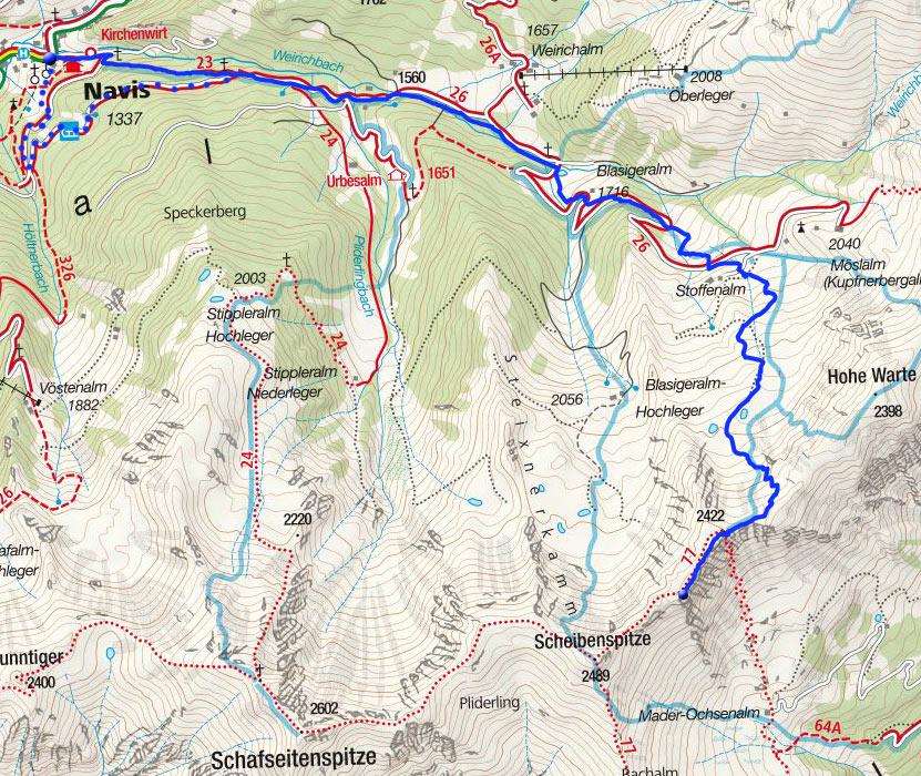 Hohe Warte-Wintergipfel (2422m) von Navis über den Silbersattel