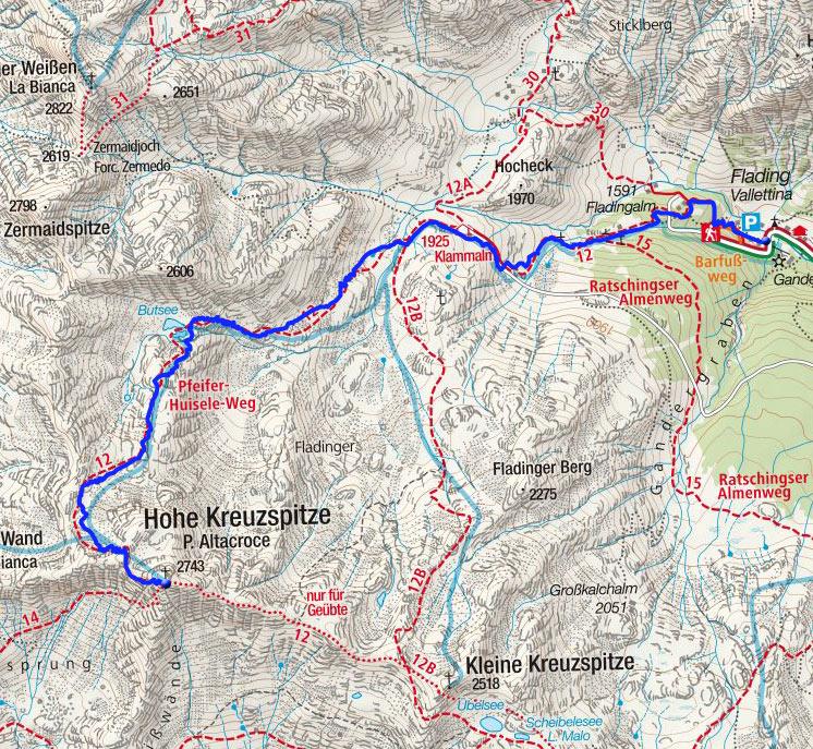 Hohe Kreuzspitze (2740 m) vom Weiler Flading