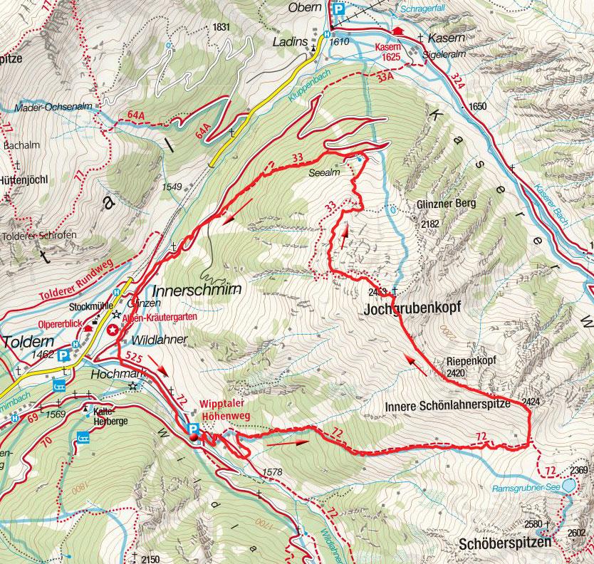Innere Schönlahnerspitze – Jochgrubenkopf Rundtour von Innerschmirn