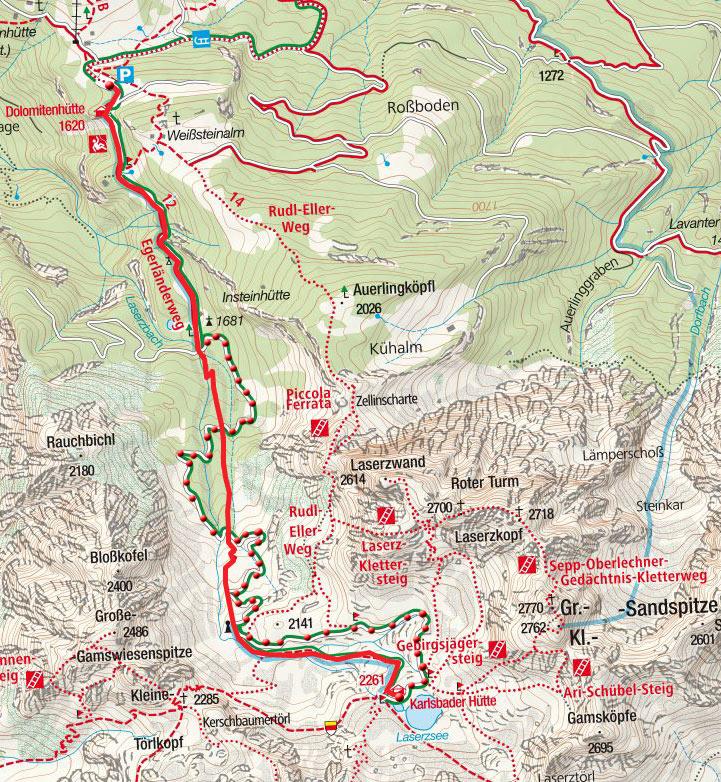 Karlsbader Hütte (2260m) vom Parkplatz Dolomitenhütte