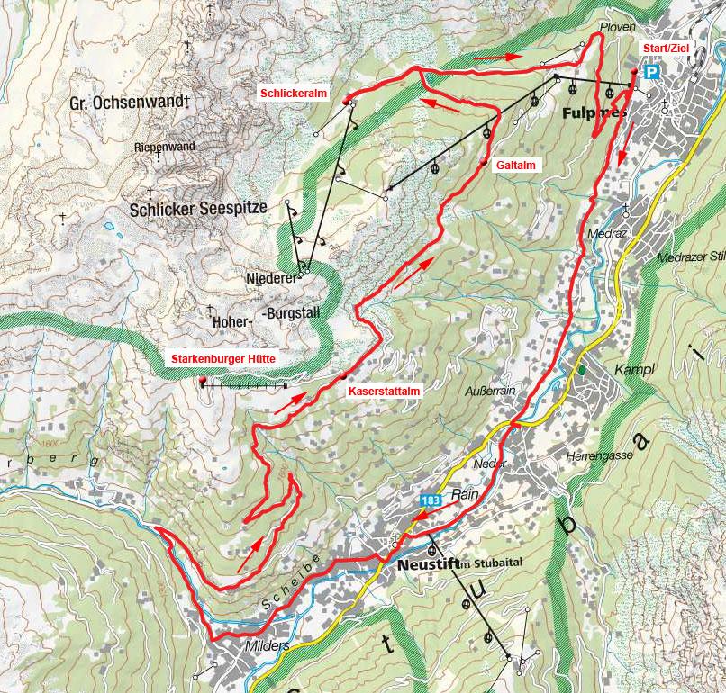 Kaserstattalm-Galtalm-Schlickeralm Rundtour