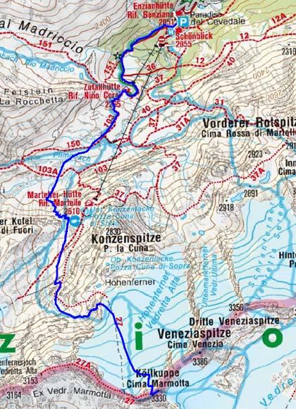 Köllkuppe–Cima Marmotta (3330 m) aus dem Martelltal