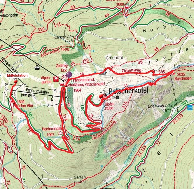 Patscherkofel–Rundtour von der Patscherkofel-Bergstation