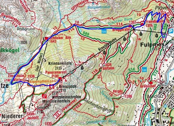 Kreuzjoch und Sennjoch (2135/2240 m) von Fulpmes