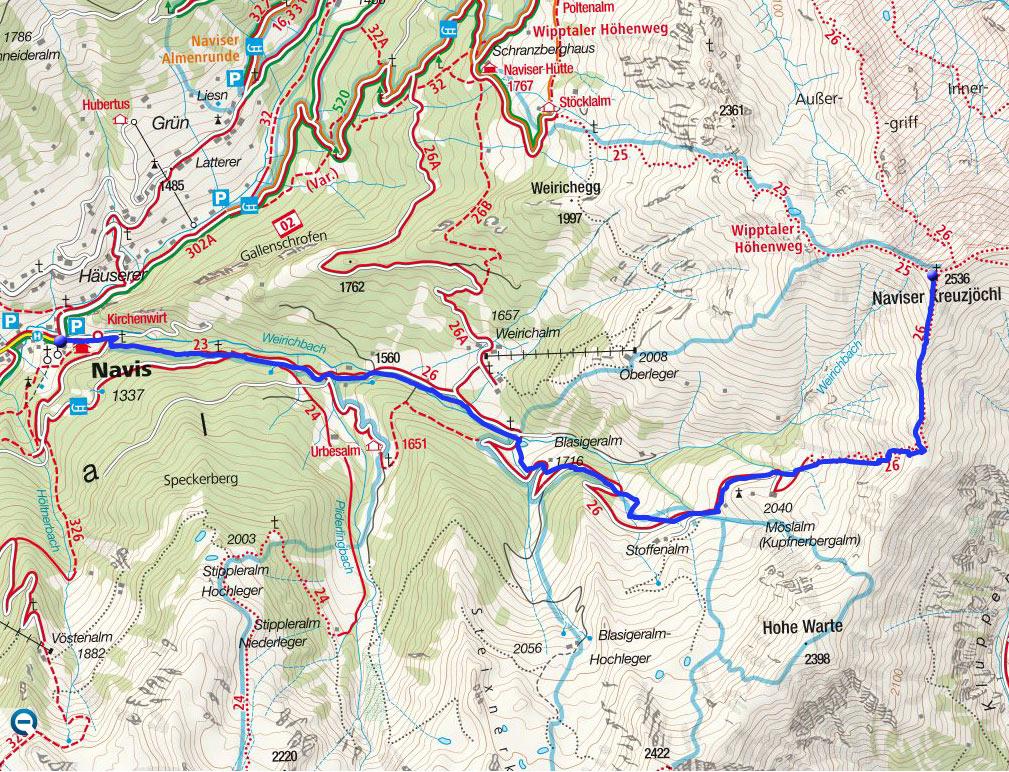 Naviser Kreuzjöchl (2536m) von Navis durch das lange Tal
