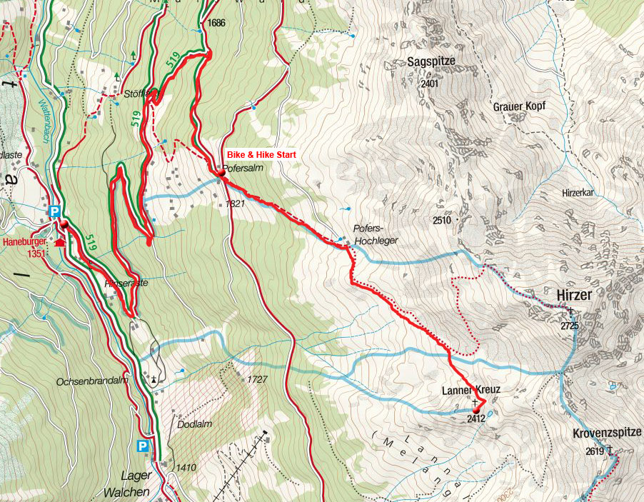 Lanner Kreuz (2412m) vom Alpengasthof Hanneburger