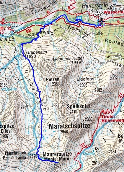 Maurerspitze (2628 m) vom Weiler Stein
