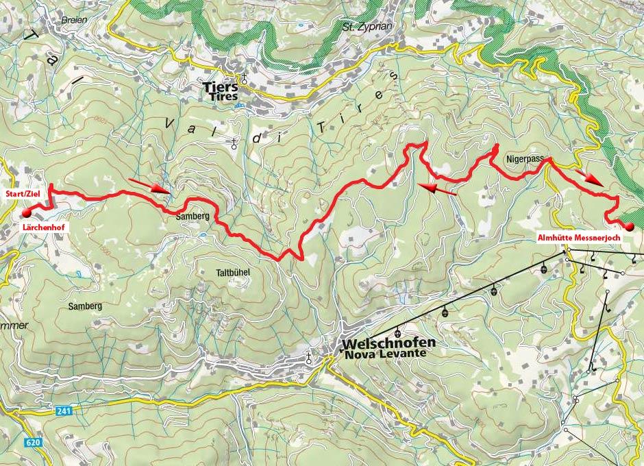 Almhütte Messnerjoch vom Parkplatz Lärchenwald