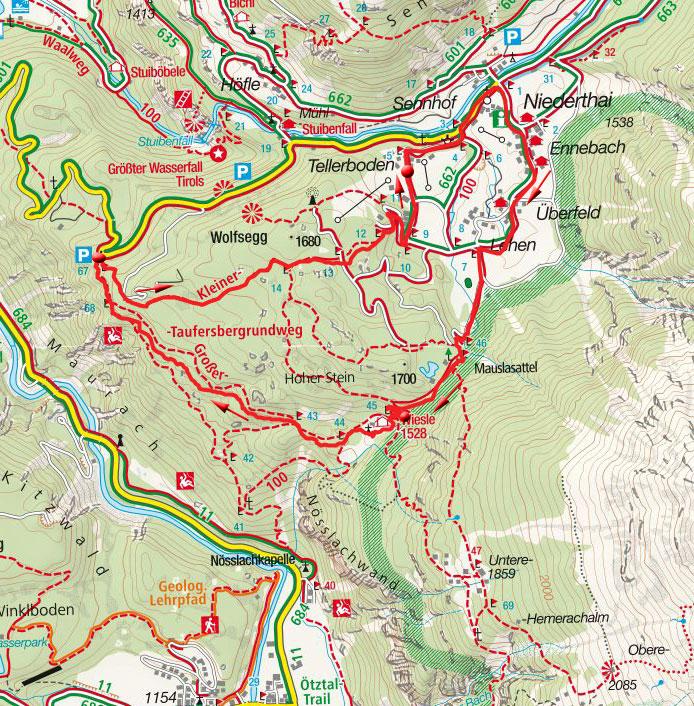 Niederthai-Wiesle-Rundwanderung vom Klettersteigparkplatz