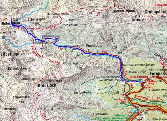 fernpass karte Skitour Roter Stein vom Fernpass durch das Kälbertal, Lechtaler Alpen