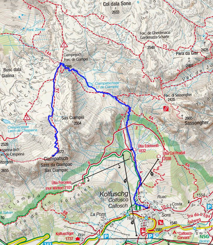 Sas Ciampac (2672m) von Kolfuschg