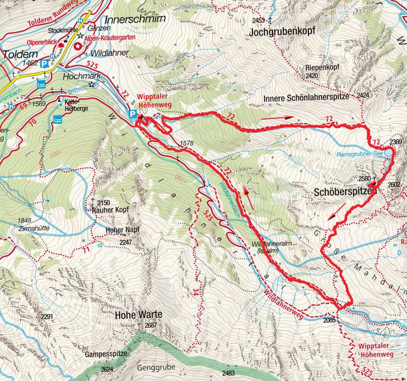 Westliche Schöberspitze (2580m) von Innerschmirn