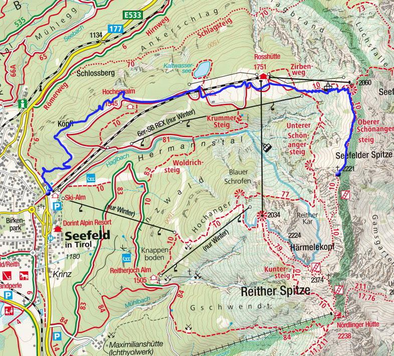 Seefelder Spitze (2221m) von der Talstation der Rosshüttenbahn