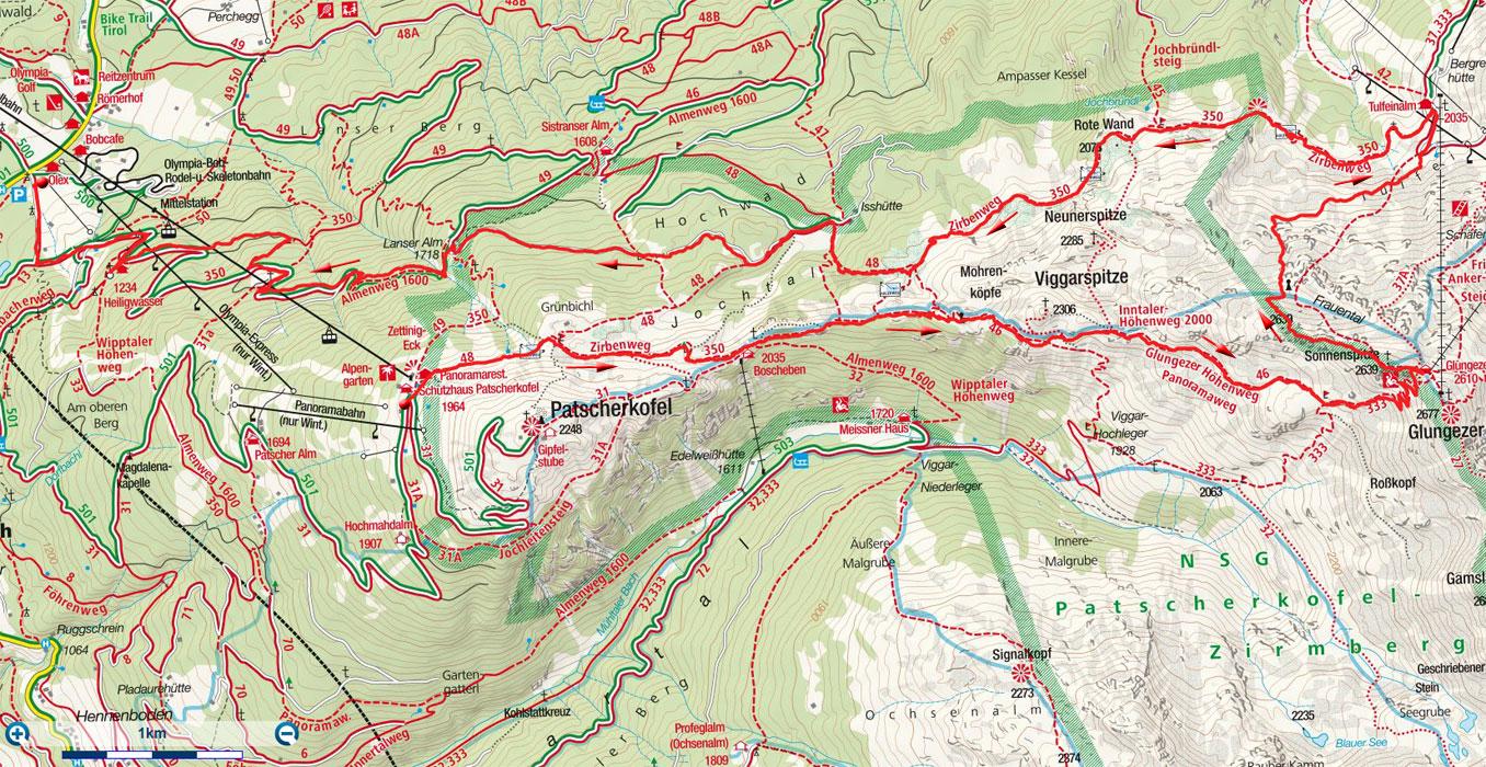 Sonnenspitze Rundtour von der Patscherkofelbahn-Bergstation