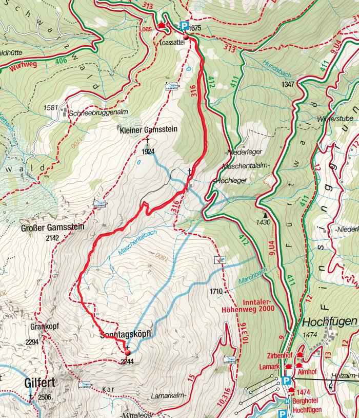 Sonntagsköpfl (2244m) vom Loassattel