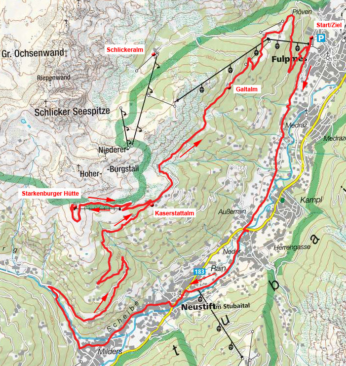 Starkenburger Hütte-Kaserstattalm-Galtalm Rundtour