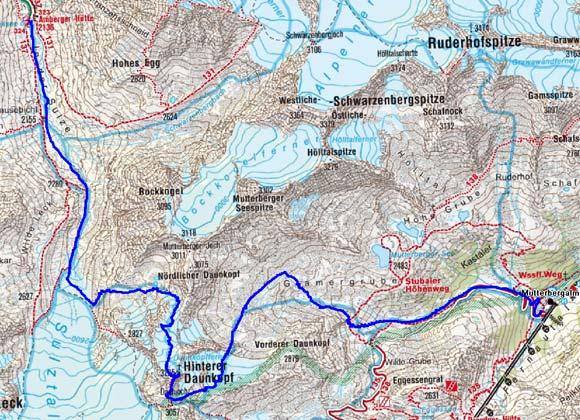 1.Tag: Mutterbergalm-Hinterer Daunkopf-Amberger Hütte