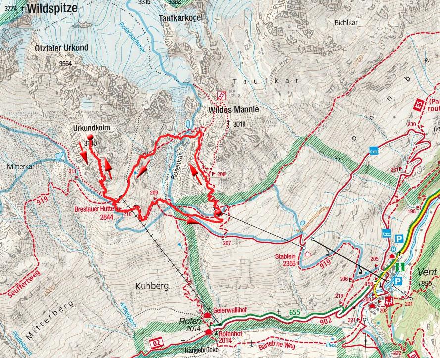 Urkundholm (3113m) von der Bergstation Wildes Mannle