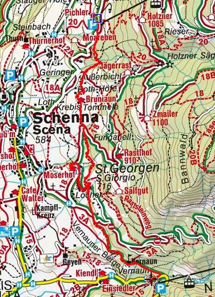 schenna karte Waalweg Schenna vom Hotel Pichler nach St. Gorgen schenna karte
