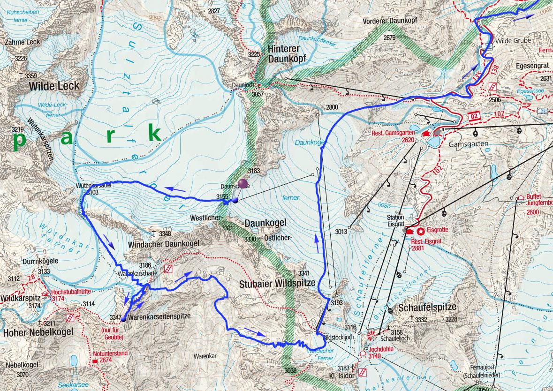 Warenkarseitenspitze (3347m) über die Daunscharte