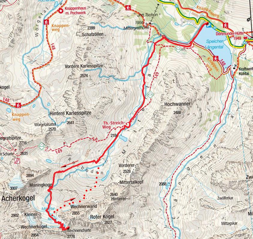 Wechner Scharte (2758 m) vom Speicher Längental