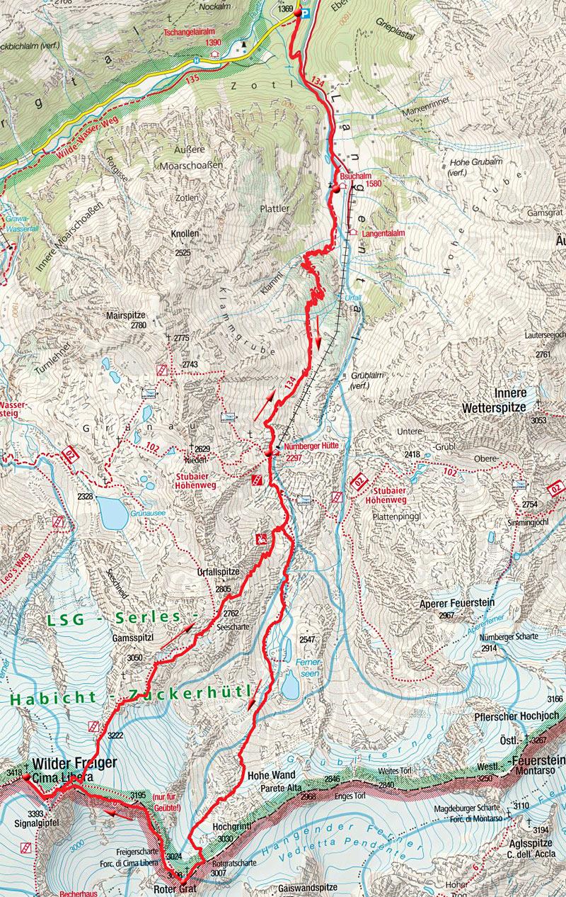 Wilder Freiger (3418m) über den Roten Grat