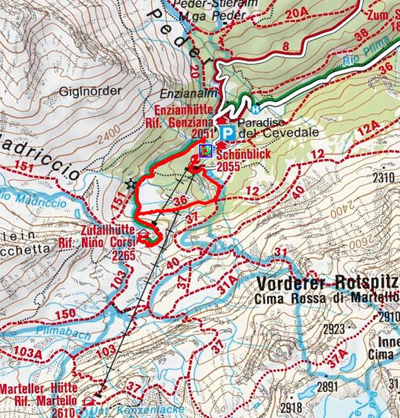 Zufallhütte (2265 m) vom Parkplatz Hintermartell