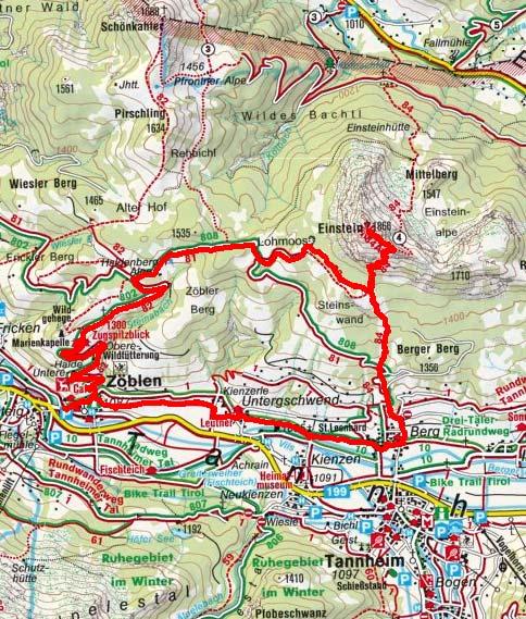 Tannheimer Tal Karte.Bergwanderung Einstein Von Zoblen