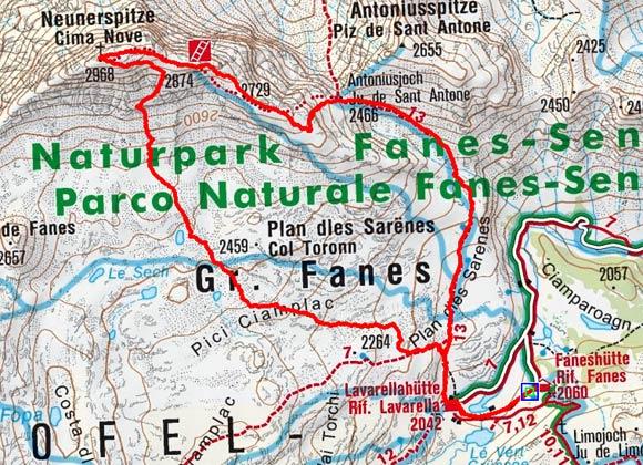 Neunerspitze - Klettersteig (2968 m) von der Faneshütte