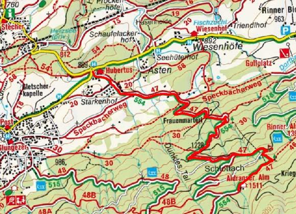 Aldranser Alm vom Kreisverkehr Aldrans/Rinn