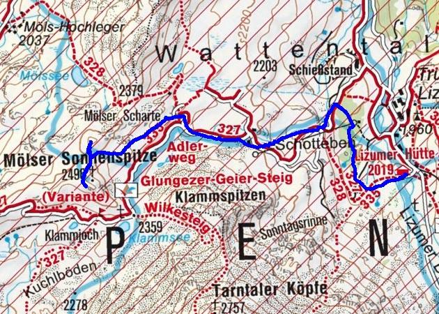 Mölser Sonnenspitze (2496m) & Skispitzl (2450m) von der Lizumerhütte
