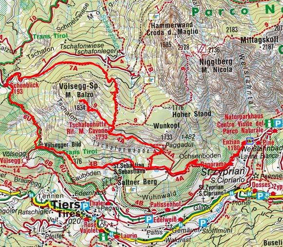 Tschafon-Völseggspitze Rundwanderung von Weißlahnbad/Tiers