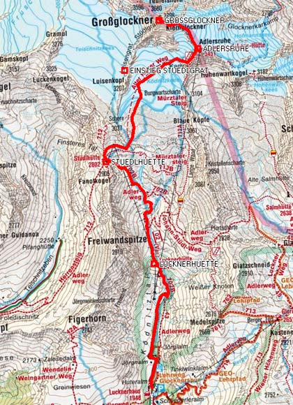 Großglockner Karte.Großglockner Bergtour Vom Lucknerhaus